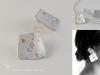 Rosée d'argent - boucles d'oreilles - argent et or - motifs imprimés